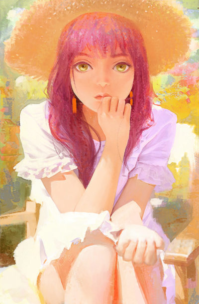 思绪, girl illustration portrait art by Africa +_02