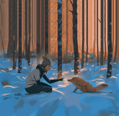 Feeding the cute little fox