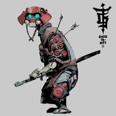 mecha samurai character design illustration