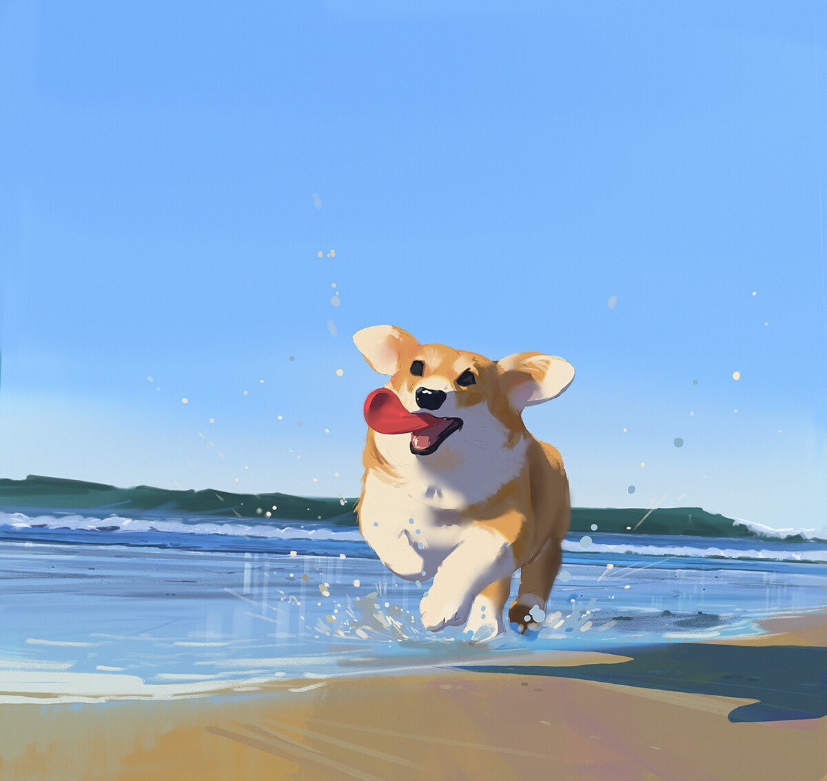Corgi Beach Day Painting inspired by the trip, Atey Ghailan_01