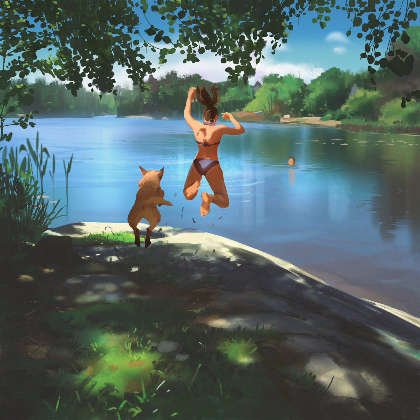 First swim of the summer final painting, Atey Ghailan_01
