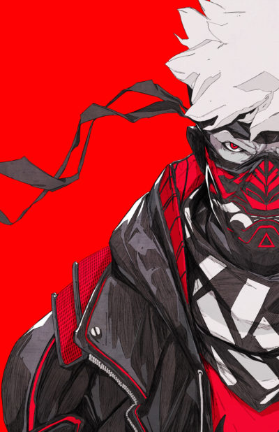 Red background painting art ,a mask Ninja illustration