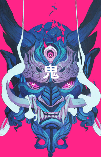 Oni Ghost Mask anime illustration art