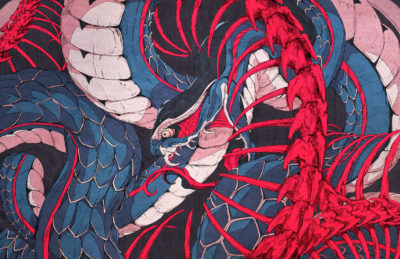 Ouroboros snake illustration painting with Ukiyoe color