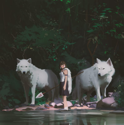 Princess mononoke final painting, Atey Ghailan_01