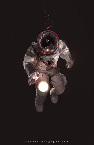 Astronaut in the dark space