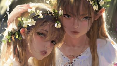 Sisters, Photoshop painting, 숲속의 자매, Taejune Kim_02