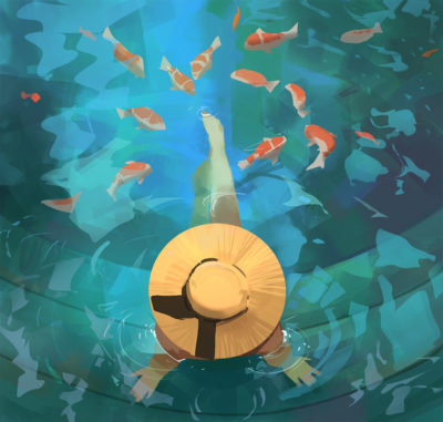 Sketch collection 23 2018 Koi fishes, Atey Ghailan_01