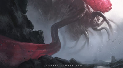 Cthulhu Giant Monster illustration wallpaper