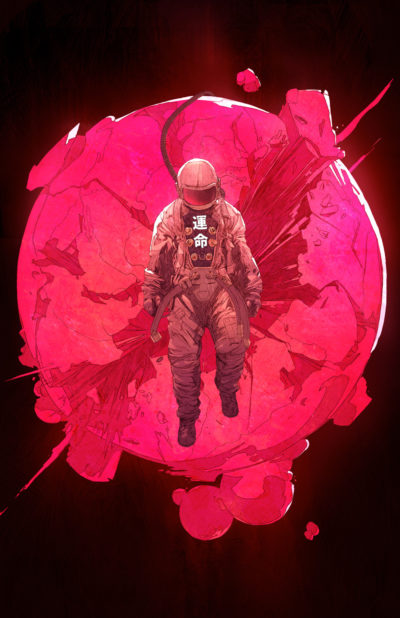 the astronaut in the space illustration art