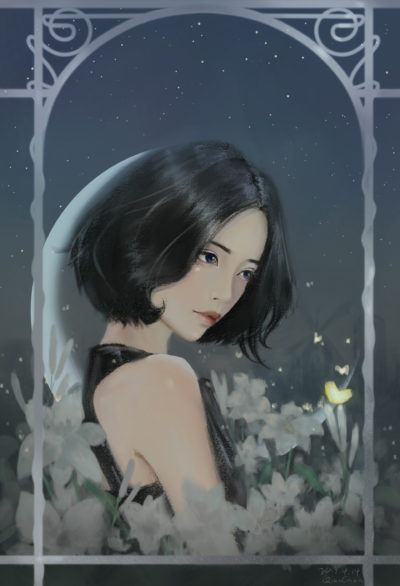 night,flower,girl, Qian Chen_01