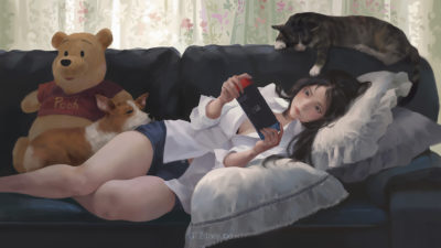 taejune-kim-girl-cat-dog-nintendo-and-pooh-1600-mark