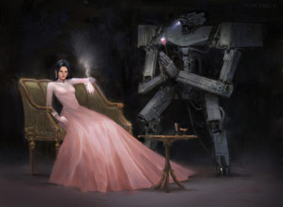 wedding dress girl with mecha wallpaper