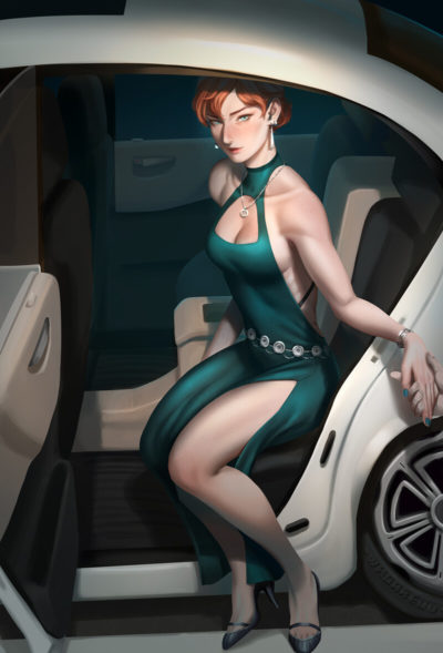girls from a car by illustrator WHO