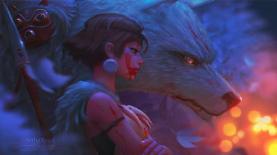 Mononoke Two forest denizens gaze upon the lights of human presence., Paul Nong_01