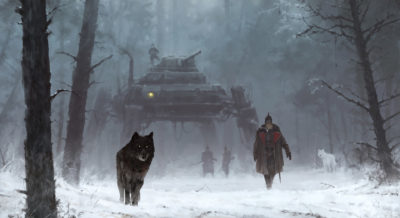 1920 – a walk through the woods Gunter and his dire wolves_ Nacht & Tag, Jakub Rozalski_01