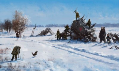 1920 – mech on the field, Jakub Rozalski_01