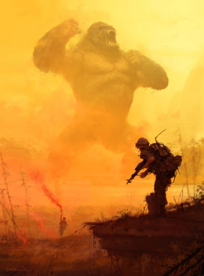 All Hail the King! I remember that for this 'Apocalypse Now' illustration, I used old Kong action figure as a reference _] very cool experience., Jakub Rozalski_01