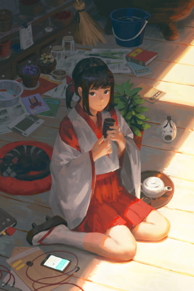sun light and japanese witch girl