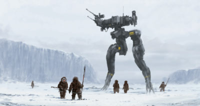"MGS – Gray monster ""Gekko and the Inuit tribe"" (they are not Ewoks and this is not a planet Hoth! _] ), Jakub Rozalski_03"