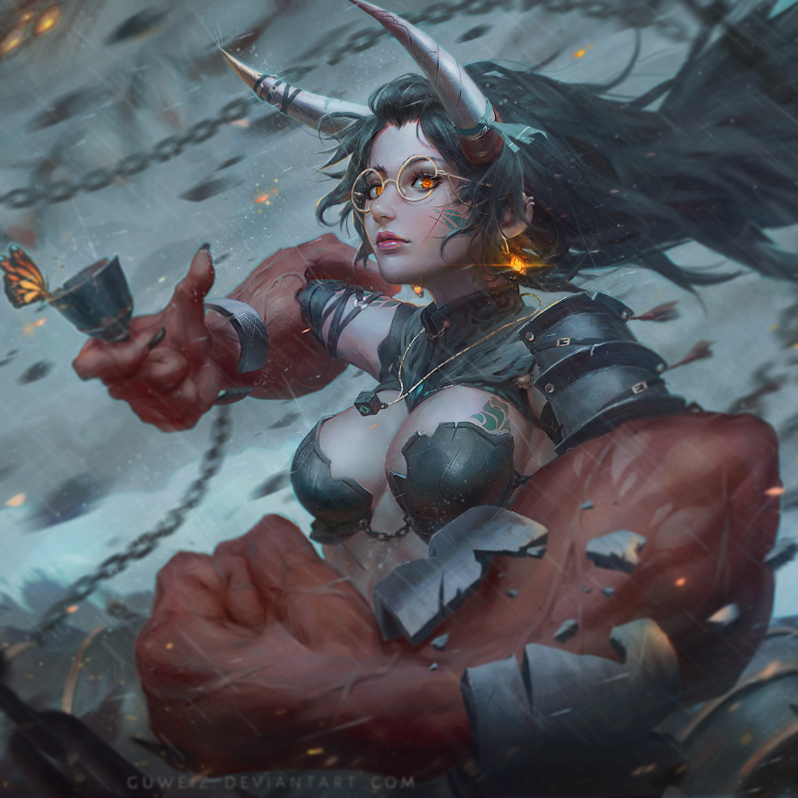 Horned girl with giant hand