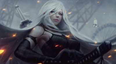 YoHRa A2 fan art wallpaper by Guweiz