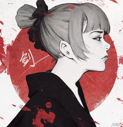 japanese Samurai girl portrait drawing