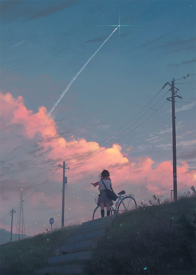 girl and sunset aesthetic illustration