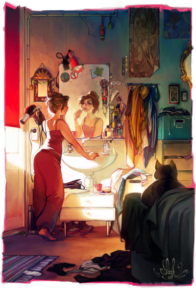 Girl brushing teeth in front of mirror in the morning by artistLois van Baarle
