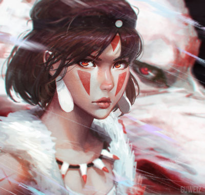 __moro_and_san_mononoke_hime_and_etc_drawn_by_guweiz__e4f34dc38d4c26daddbfaa0e3b1f0cfc