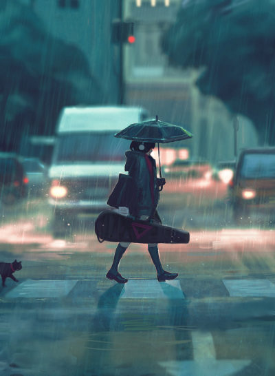rain and girl sad mood aesthetic illustration wallpaper