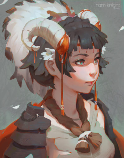 Horned girl  samurai character portrait