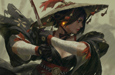 Samurai female warrior handing sword guweiz illustration art