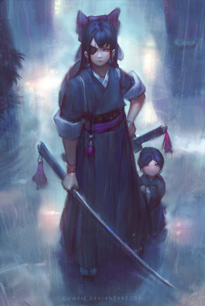 female samurai character sad mood aesthetic illustration art