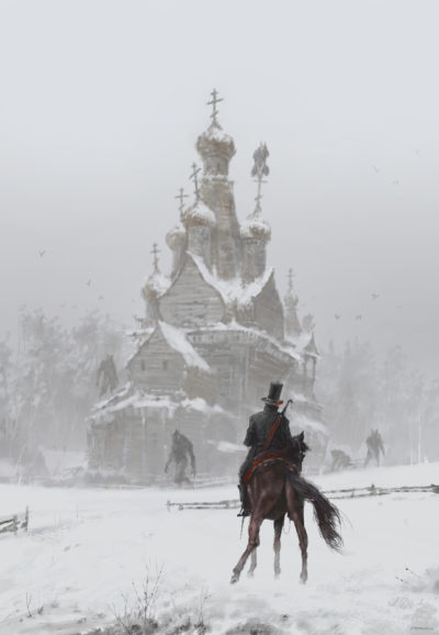 where the ancient pagan temple had once stood, Jakub Rozalski_01