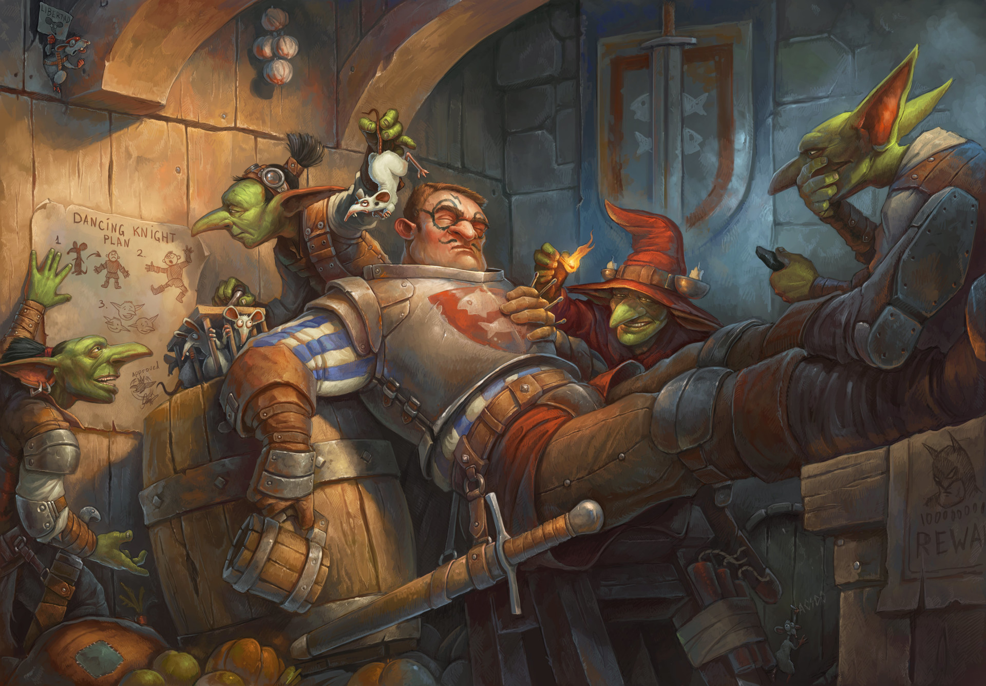 Dancing Knight or return of the green team,by illustrator Tony Sart