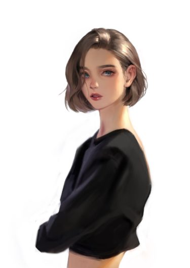 short hair and Face girl's drawing , ryeowon kwon