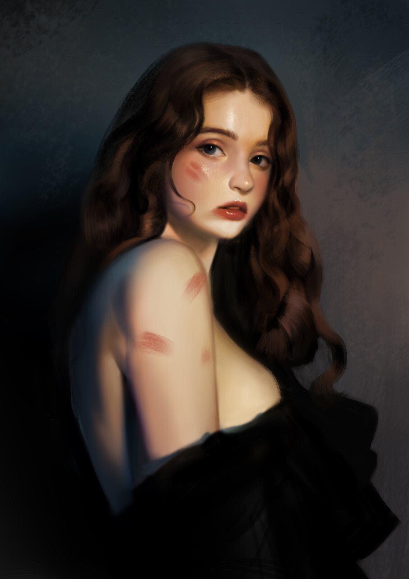 Red Lips and facemark gril portrait by ryeowon kwon