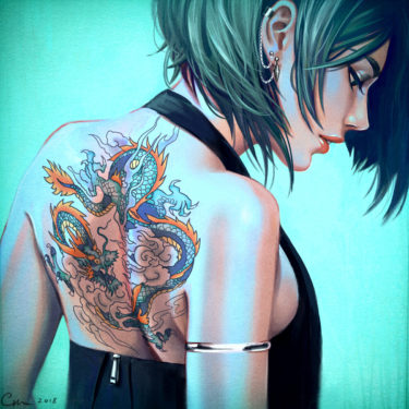 The Girl with a Dragon Tattoo, by artist Camille Marie