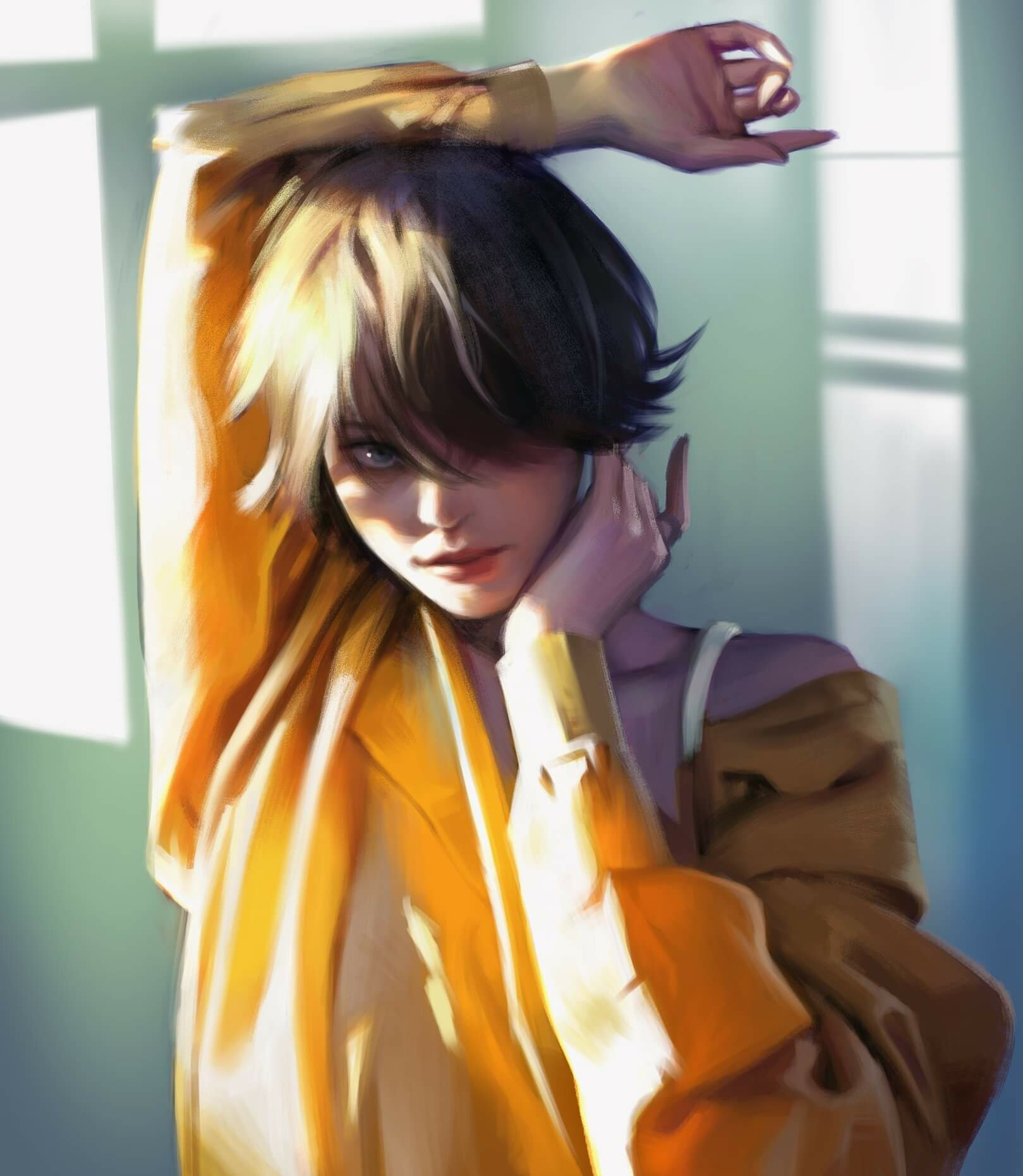 Yellow dressed girl drawing,by ryeowon kwon