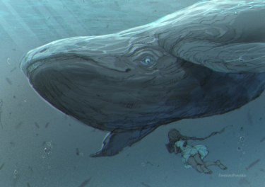 Whale and little girl digital art painting