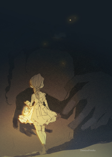 a little girl in the darkness
