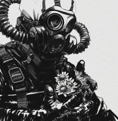 black and while art a gas mask soldier