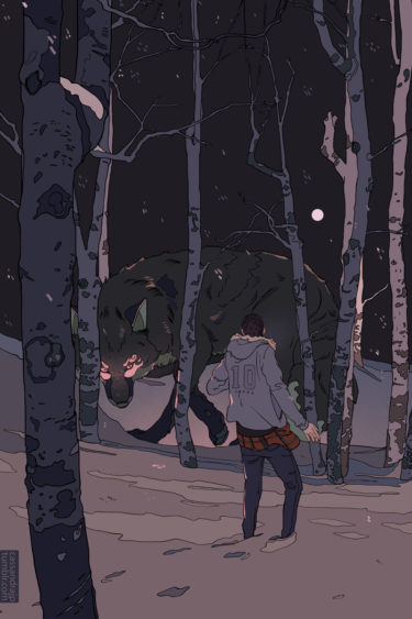 wolf and man in the forest illustration