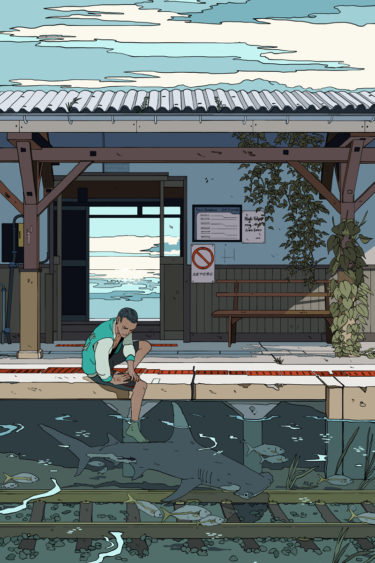 boy with fish in one summer day illustration Such a summer feeling painting