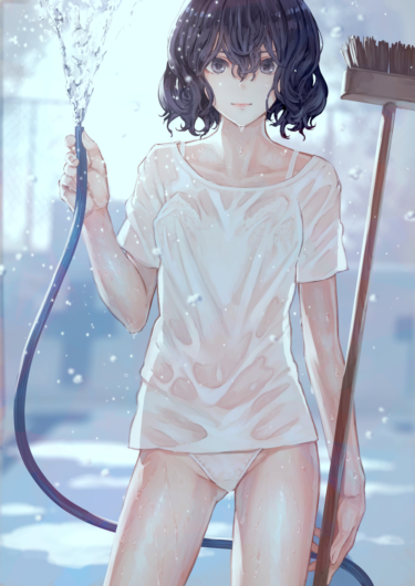 boy-cut girl with wet see-through dressing