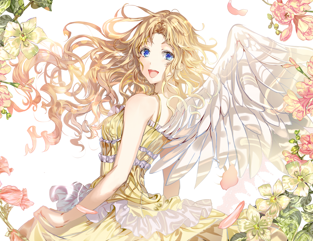 angel girl around with flowers