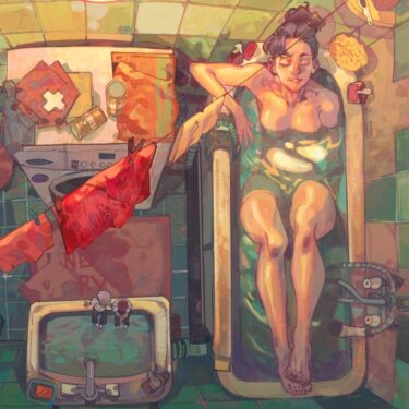 yes.One summer day, a girl who leisurely enjoys bath time
