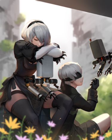 Yorha No.9 Type S and Pod 042 illustration