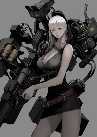 Huge weapon girl with power armor